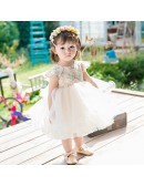 Super Cute Champagne Tulle Flower Girl Dress Tutus Toddler Pageant Gown