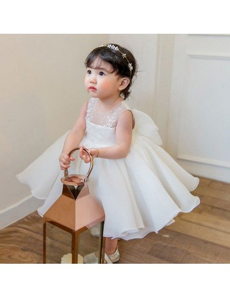 Couture White Princess Flower Girl Dress Ballgown Toddler Pageant Gown