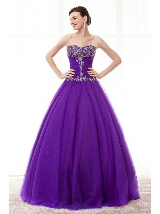 Cheap Ball Gown Purple Prom Dress For Juniors With Beading
