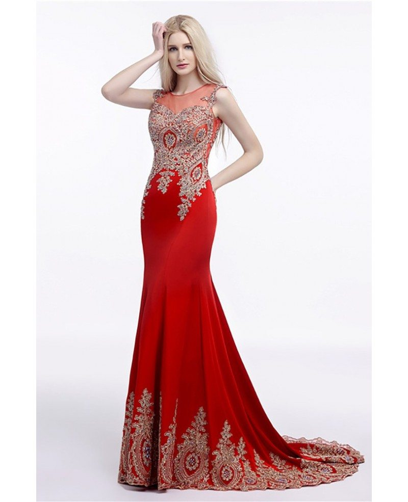 Red And White Lace Prom Dress: 2018 Fit And Flare Red Prom Dress Long With Applique Lace