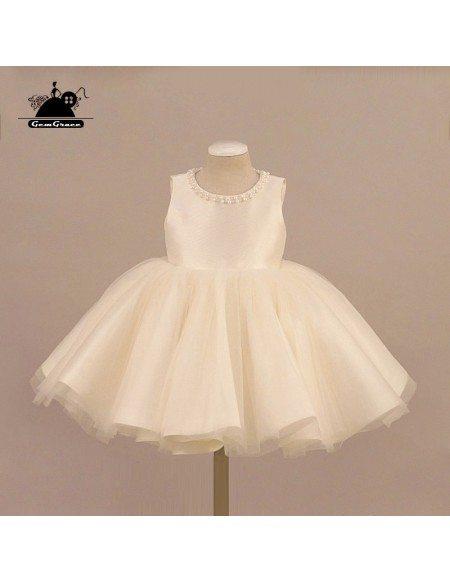 Cream White Tulle Beaded Flower Girl Dress Ballet Performance Pageant Gown