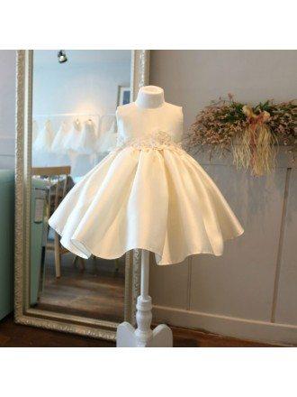 High-end Cream White Satin Flower Girl Pageant Dress Formal Weddings