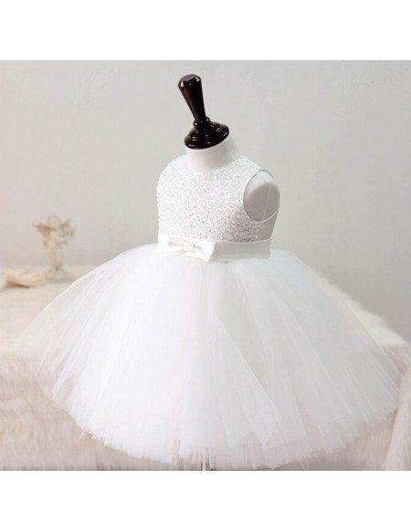 Pure White Sequined Tutu Girls Pageant Dress Wedding Flower Girl Dress