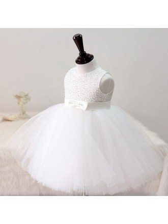 Pure White Sequined Tutu Girls Pageant Dress Wedding Flower Girl Dress
