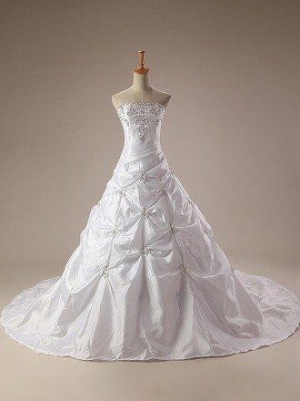 Train Length Embroidered Taffeta Strapless Wedding Dress