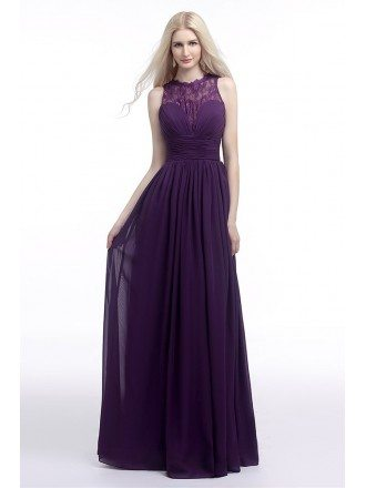 Flowy Chiffon Purple Prom Dress Long With Lace Sheer Top 2018