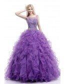 Cascading Ruffled Ball Gown Formal Dress Purple For 8th Grade Teens