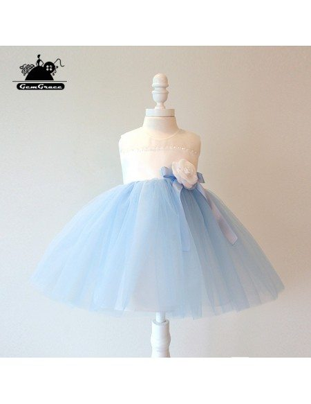 Sky Blue Tulle Ballgown Couture Flower Girl Dress Summer Weddings