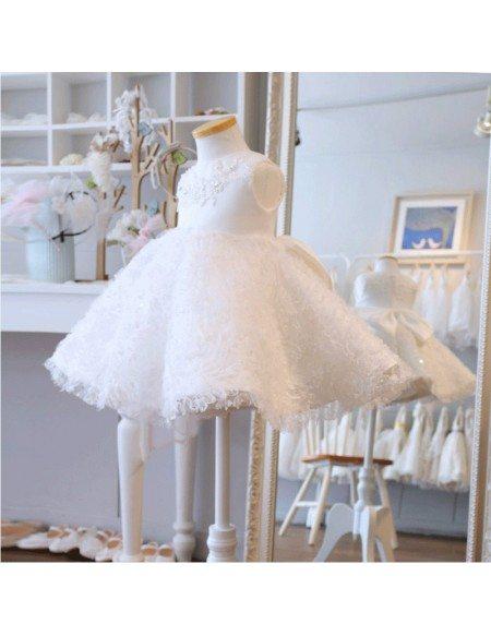 Super Cute Tutu Girls Wedding Dress White Flower Girl Dress For Toddlers