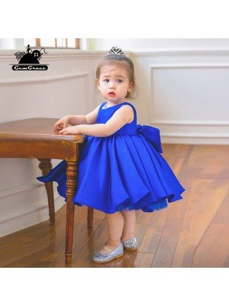 Blue Satin Couture Flower Girl Dress Elegant Summer Weddings With Bow