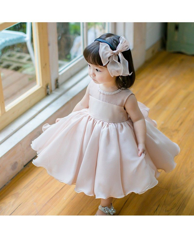 Blush Pink Cute Puffy Flower Girl Dress Baby Toddler ...