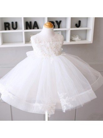 Couture White Princess Flower Girl Wedding Dress Tulle Ballgown Pageant Dress