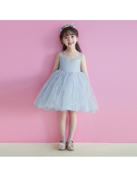 Grey Short Tutu Flower Girl Dress Tulle For Weddings Teens
