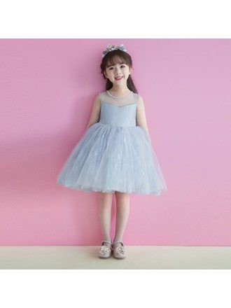Grey Short Tutu Flower Girl Dress Tulle For Weddings Teens