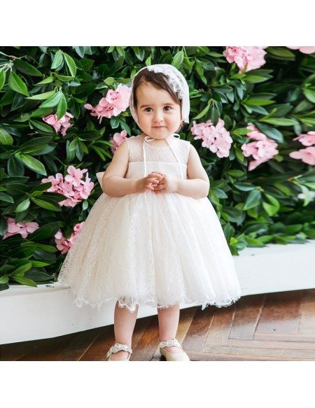 Ivory Lace Princess Flower Girl Dress Toddler Kids Pageant Gown