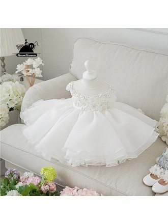 Couture Short White Princess Flower Girl Wedding Dress With Flowers
