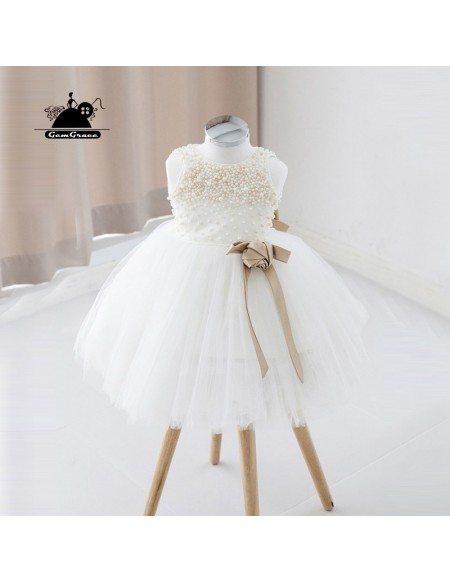 Ivory Short Tulle Beaded Flower Girl Dress Tutus Wedding Dress For Girls