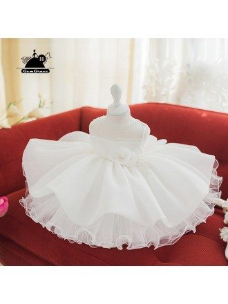 Couture Puffy White Tutu Girls Wedding Dress Performance Pageant Gown
