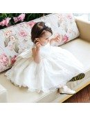 High-end Puffy White Lace Flower Girl Dress Toddler Pageant Party Dress