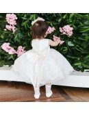 Couture Tulle Tutu Lace Flower Girl Dress With Big Bow In Back