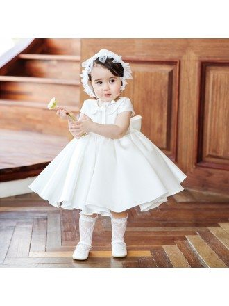 Vintage Baby Collar Princess Flower Girl Dress With Sleeves Couture Pageant Gown