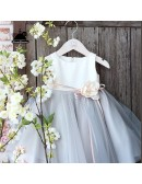 Elegant Grey Tulle Flower Girl Dress Country Weddings Pageant Gown