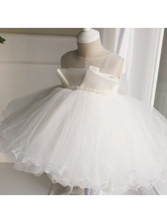 Unique Puffy Short Ballgown Girls Performance Pageant Dress Flower Girl Wedding Dress