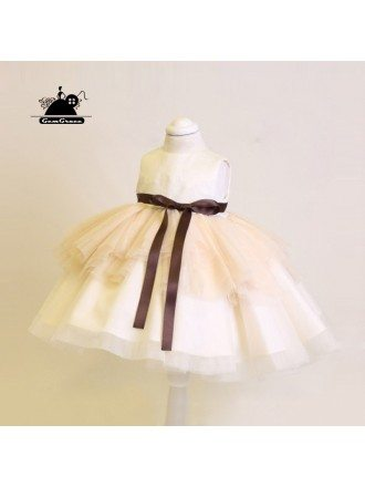 Unique Champagne Couture Flower Girl Dress With Sash Wedding Dress For Kids