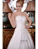 Ball-Gown Strapless Cathedral Train Satin Wedding Dress With Ruffle