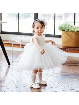 Super Cute White Girls Wedding Dress Toddler Pageant Gown For Formal