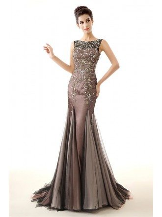 Unique Brown Fitted Prom Dress Sleeveness With Sparkly Beading