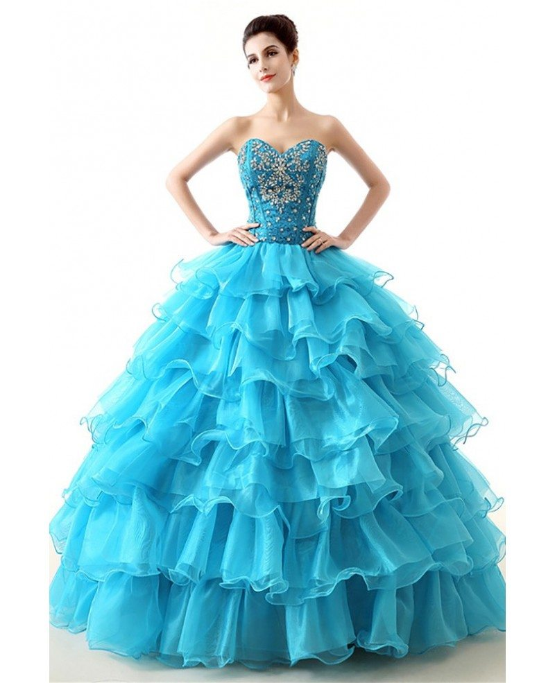 Red Ball Gown Dresses: Cheap Red Ball Gown Formal Dress Tiered With Beading For