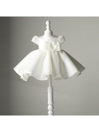 Designer Ivory Baby Princess Flower Girl Dress With Sleeves