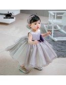 Grey Puffy Organza Flower Girl Dress For Toddler Girls High Quality