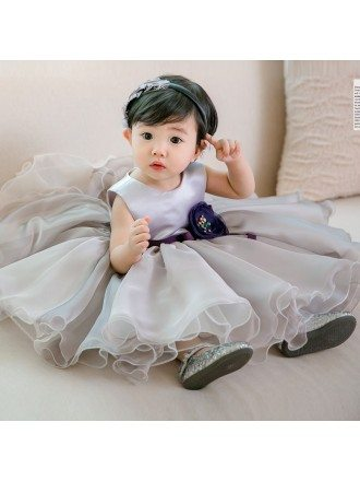Grey Puffy Organza Flower Girl Dress For Toddler Girls High Quality