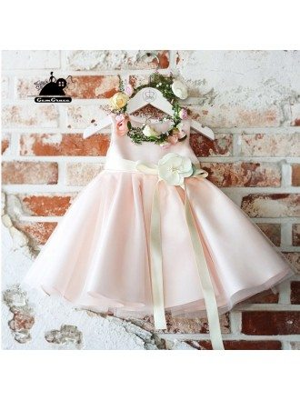 Couture Classic Pink Flower Girl Dress With Sash Summer Weddings Pageant Gown