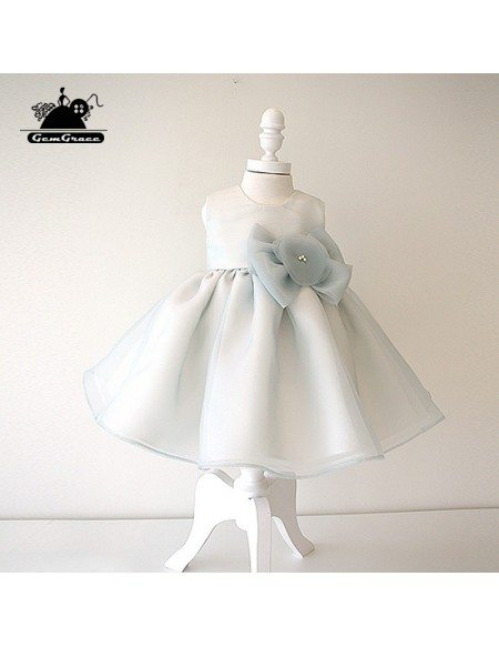 Dusty Blue Organza Flower Girl Dress Girls Performance Pageant Gown