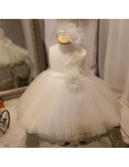 Designer Puffy White Tulle Flower Girl Dress Tutus Pageant Gown