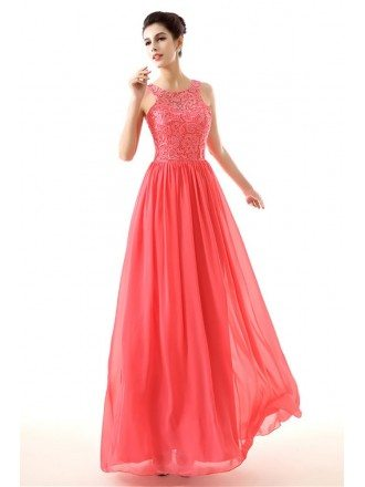Flowing Chiffon A Line Formal Dress Watermelon With Lace Top