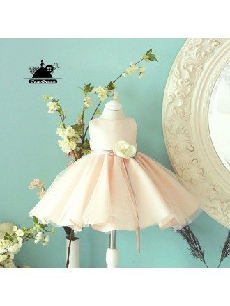 Couture High Quality Pink Ballgown Flower Girl Dress With Sash