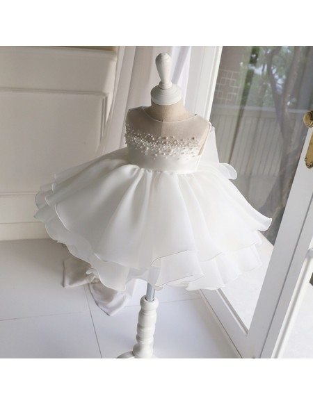 Elegant White Beaded Pearls Girls Formal Dress Toddler Flower Girl Dress