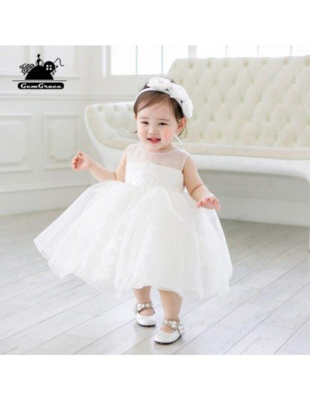 Couture Pure White Princess Flower Girl Dress Tutus Dress