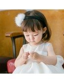 Formal White Puffy Flower Girl Dress Girls Performance Pageant Gown