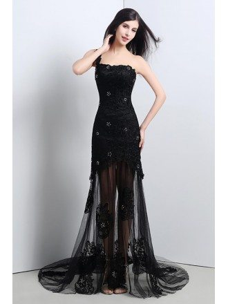 Sexy Black Sheer Tulle Lace Prom Dress With One Shoulder Strap