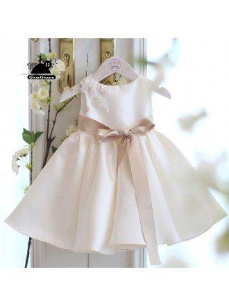 Simple Ivory Satin Flower Girl Dress With Sash Summer Weddings