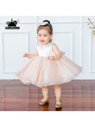 Couture Blush Pink Puffy Flower Girl Dress Sleeveless For Toddler Girls