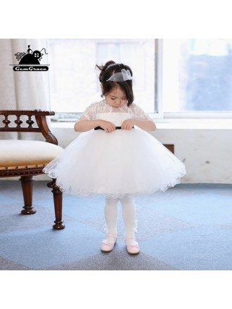 Cute White Tutu Ballet Dance Flower Girl Dress With Sleeves For Performance
