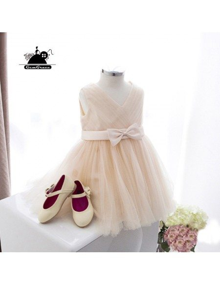 Elegant Champagne Tulle Flower Girl Dress For Summer Weddings With Sash