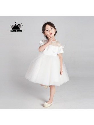 Couture White Tulle Short Flower Girl Dress With Sleeves And Bows