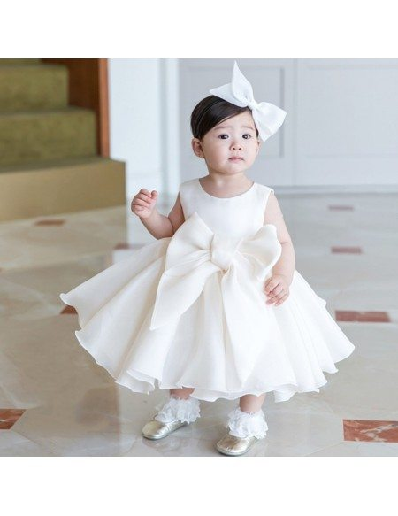 Super Cute Big Bow Ivory Princess Flower Girl Dress For Formal